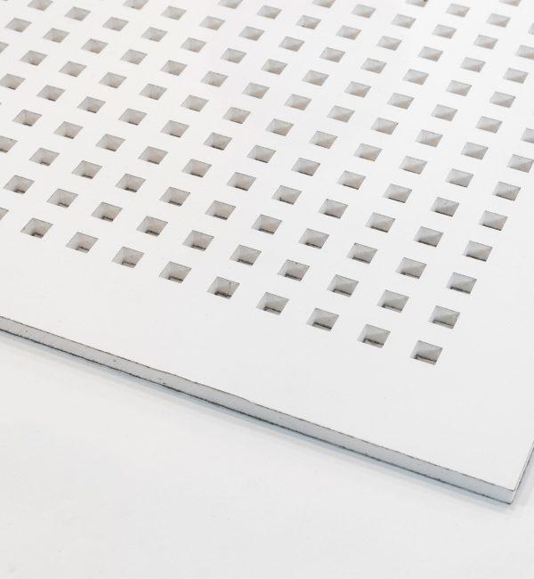 تایل گچی آکوستیک پانچ مربع رنگ شده(سفید)با فلیس مشکی (۲۵-۱۲) کناف