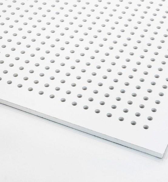 تایل گچی آکوستیک پانچ دایره ای روکش PVC با فلیس سفید (۱۸-۸)
