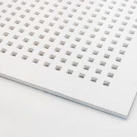 تایل گچی آکوستیک پانچ مربع بدون روکش با فلیس سفید (۲۵-۱۲)