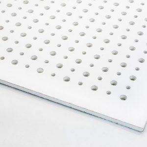 تایل گچی آکوستیک پانچ دایره ای بدون روکش با فلیس سفید (۵۰-۱۲-۸)