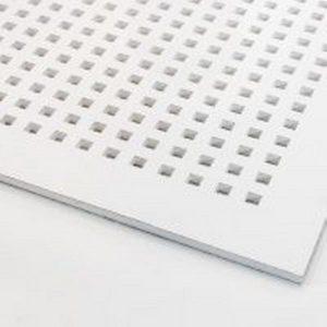 تایل گچی آکوستیک پانچ مربع روکش PVC با فلیس سفید (۲۵-۱۲)