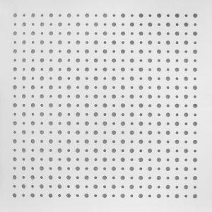 تایل گچی آکوستیک پانچ دایره ای رنگ شده(سفید)با فلیس مشکی (۵۰-۱۲-۸)